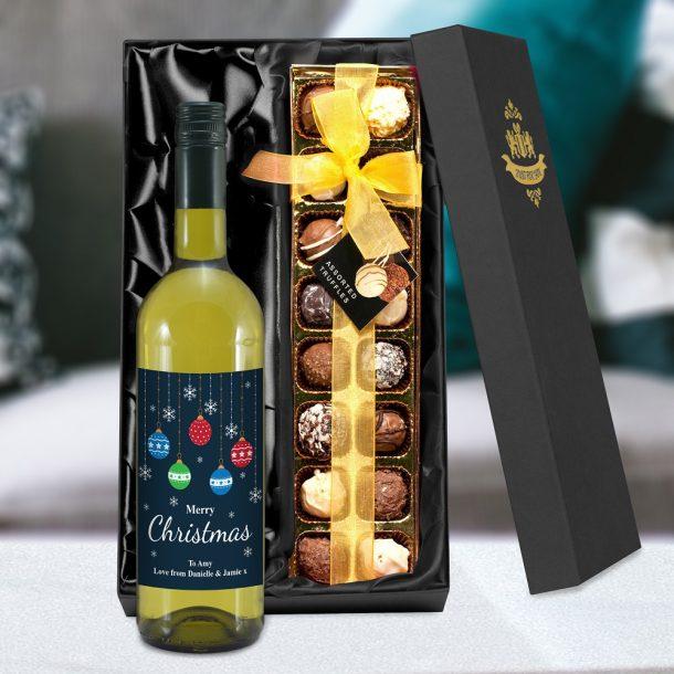 Personalised Merry Christmas White Wine & Truffles Set