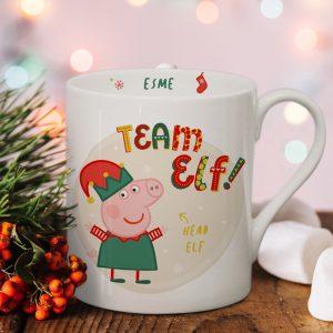 Personalised Peppa Pig Team Elf Balmoral Mug