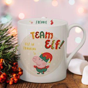 Personalised Peppa Pig Team Elf George Pig Balmoral Mug