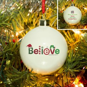 Personalised Very Hungry Caterpillar Believe Bauble