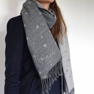 Grey Embroidered Star Scarf
