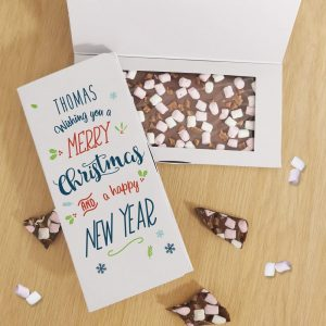 Personalised A Merry Christmas Milk Chocolate Card