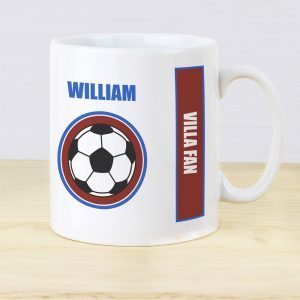 Personalised Claret & Blue Football Fan Mug
