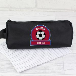 Personalised Claret & Blue Football Fan Pencil Case