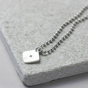 Personalised Hand Stamped Square Tag on Dog Tag Chain