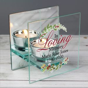 Personalised In Loving Memory Christmas Mirrored Glass Tea Light