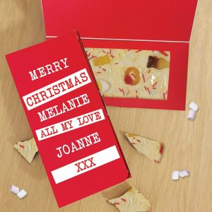 Personalised Merry Christmas Block out White Chocolate Card