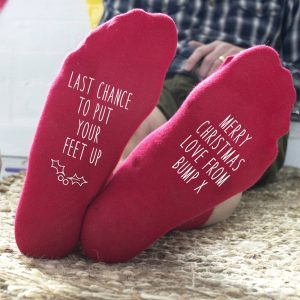 Personalised Merry Christmas From The Bump Socks