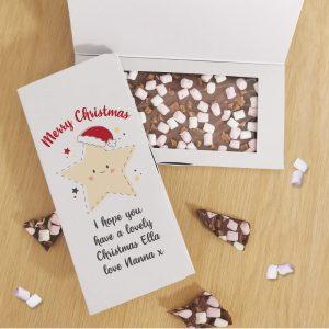 Personalised Merry Christmas Star Milk Chocolate Card