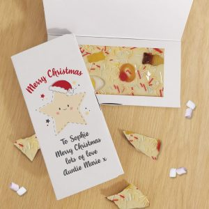 Personalised Merry Christmas Star White Chocolate Card