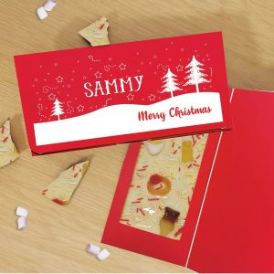 Personalised Merry Christmas Trees White Chocolate Card