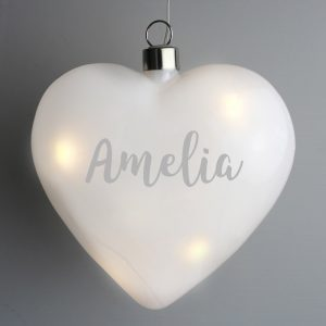 Personalised Name Only LED Hanging Glass Heart