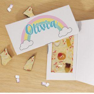 Personalised Rainbow White Chocolate Card