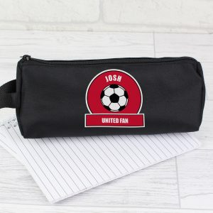Personalised Red Football Fan Pencil Case