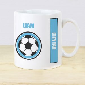 Personalised Sky Blue Football Fan Mug