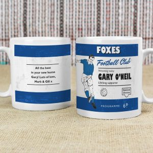 Personalised Vintage Football Blue & White Supporter's Mug
