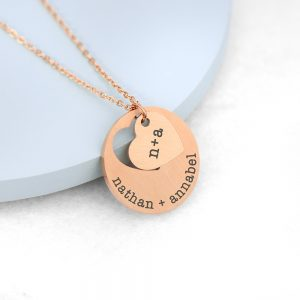 Personalised Cut Out Heart Shape Rose Gold Necklace