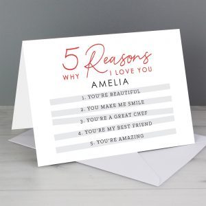 Personalised 5 Reasons Why Card