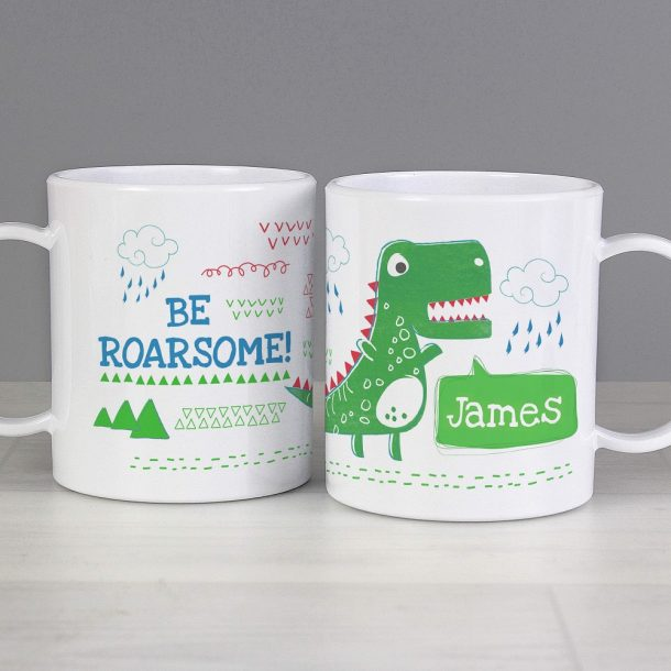 Personalised Be Roarsome Dinosaur Plastic Mug