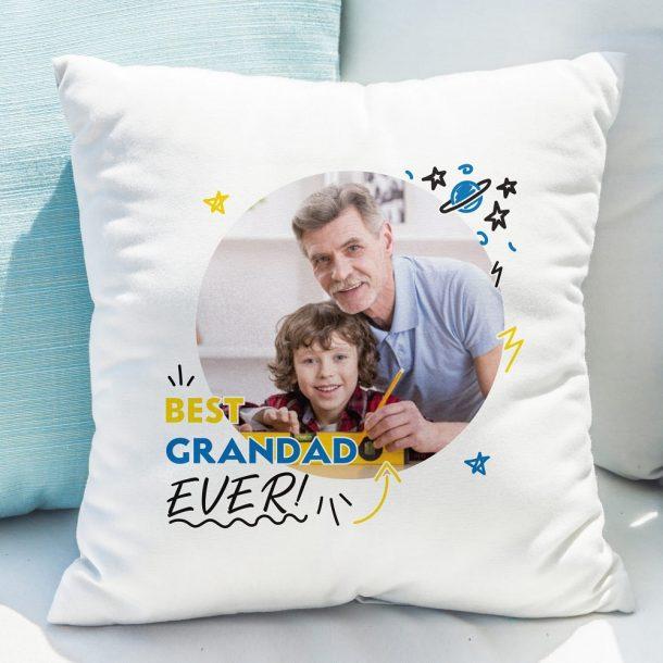 Personalised Best Grandad Ever Photo Upload Cushion