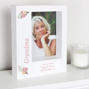 Personalised Floral 5x7 Box Photo Frame