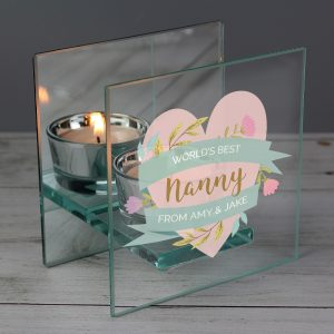 Personalised Floral Heart Mirrored Glass Tea Light Holder