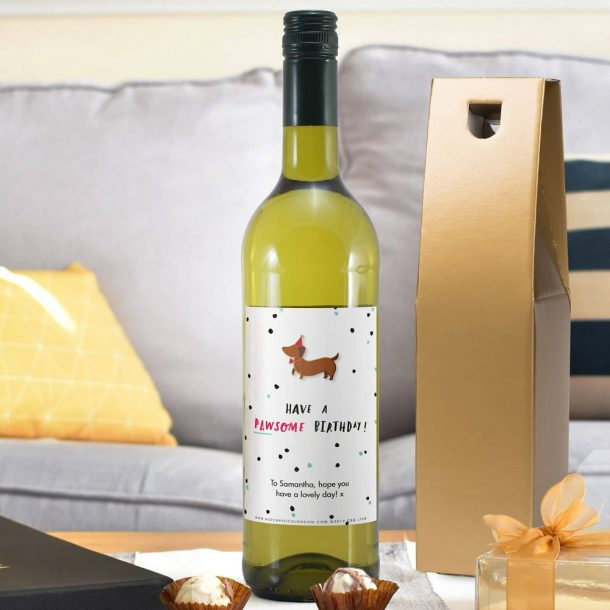 Personalised HotchPotch Pawsome Birthday White Wine