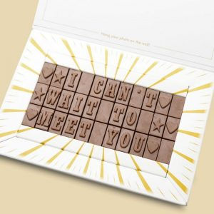 Personalised I Can't Wait To Meet You Chocolate Bar Card