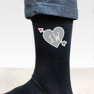 Personalised Initials Heart Men's Socks