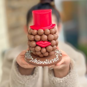 Personalised Malteser Head With Red Hat & Lips