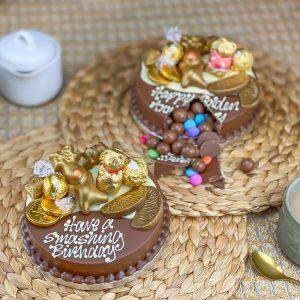 Personalised Mini Gold Smash Cake