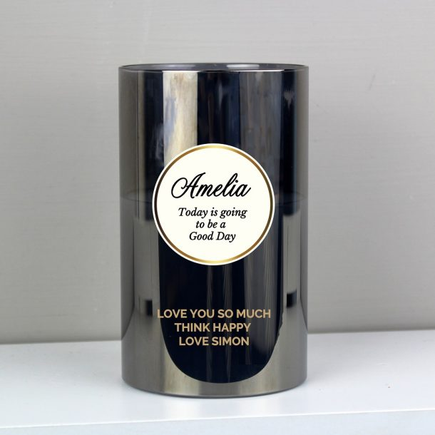 Personalised Opulent Smoked Glass LED Candle