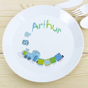 Personalised Patchwork Train Plastic Plate