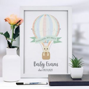 Personalised A4 Framed Baby Countdown & Dry Wipe Pen