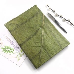 A5 Refillable Leaf Leather Journal - Leaf Green