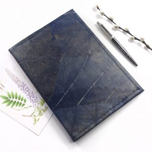 A5 Refillable Leaf Leather Journal - Midnight Blue