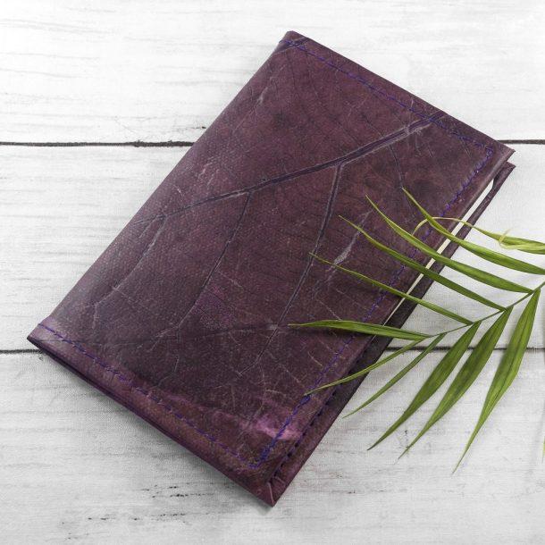 A6 Refillable Leaf Leather Journal - Dark Lavender