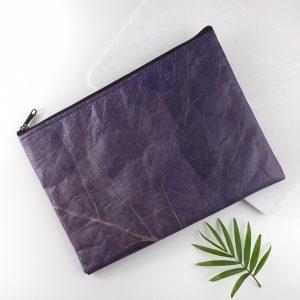Clutch Bag in Leaf Leather - Dark Lavender