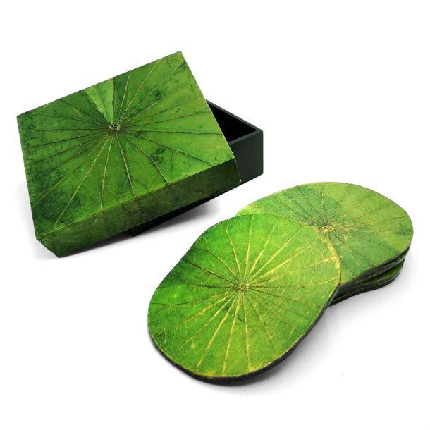 Green Lotus Leaf Coasters - Set of Six