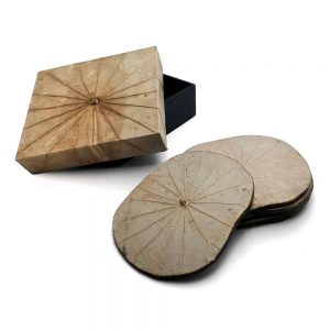 Natural Lotus Leaf Coasters - Set of Six