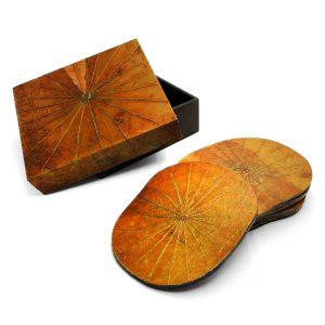 Orange Lotus Leaf Coasters - Set of Six