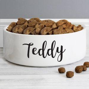 Personalised Any Name 14cm Medium White Pet Bowl
