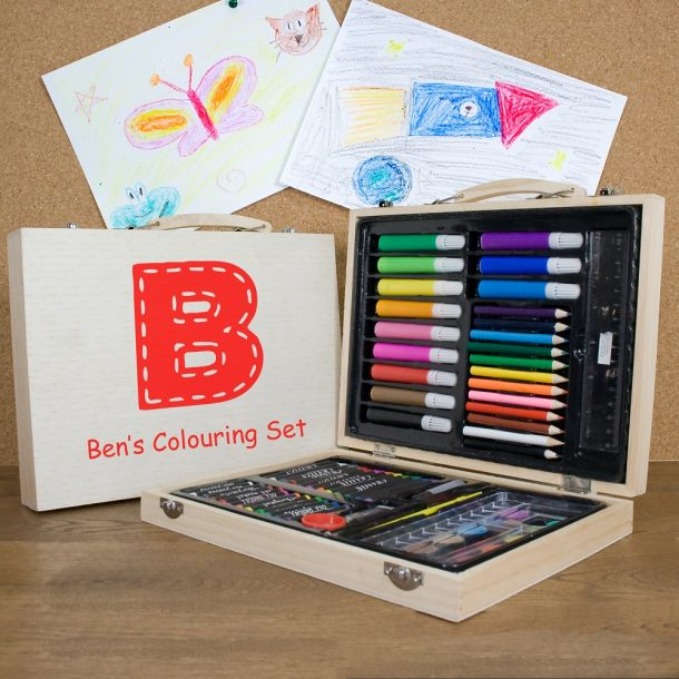 Personalised Children's Colouring Set - Red