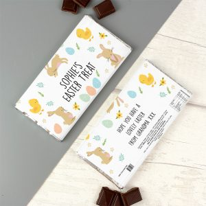 Personalised Easter Bunny & Chick Milk Chocolate Bar