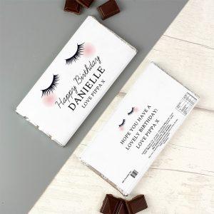 Personalised Eyelashes Milk Chocolate Bar
