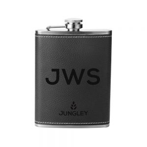Personalised Faux Leather Hip Flask - Black