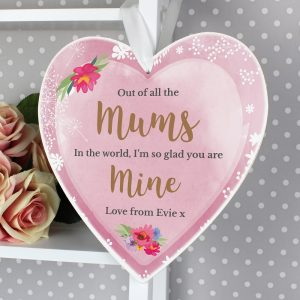Personalised Floral Watercolour Large Wooden Heart Decoration