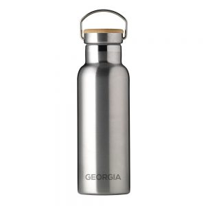 Personalised Insulated Bottle 17oz With Bamboo Lid - Silver