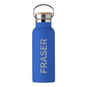 Personalised Insulated Bottle With Bamboo Lid - Blue