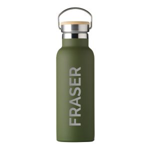 Personalised Insulated Bottle With Bamboo Lid - Green